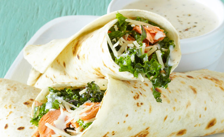 Caesar Wraps with Kale and Salmon Recipes